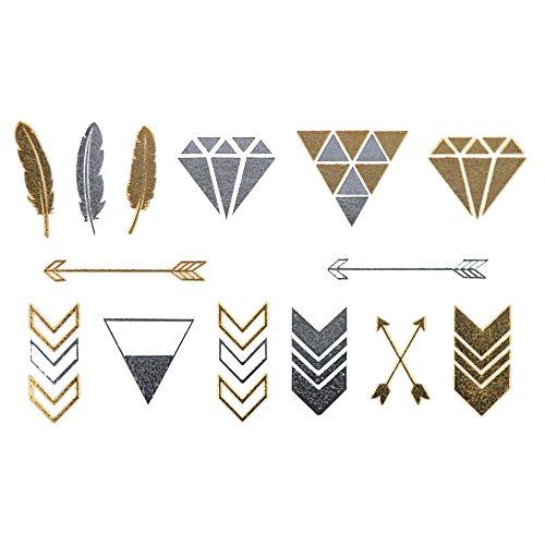 COKOHAPPY Metallico Temporanei Temporaneo Tatuaggi Tattoo ( Set Di 2 ) Piccolo Freccia Diamante Piuma Oro Argento - Oro Lungo Diamante Set
