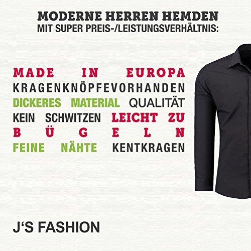 Herren-Hemd – Slim Fit – bügelfrei / bügelleicht – Ideal für Anzug, Freizeit, Business, Hochzeit – viele verschiedene Farben – Langarm Hemden mit Kontrast für Männer - navyblau - S - 6
