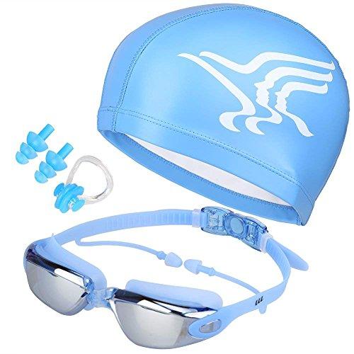 LOLOMODA Gafas de natación + Gorro de baño