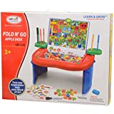Scrafts 4 In 1 Colourful ABC+123 First Classroom Fold N Go Apple Desk Toy For Children (3 And Above) With Magnetic Stickers, Letter Flashcards And Number Flashcards. LBH(inches)=20x16x8