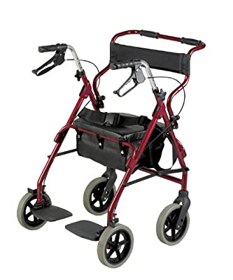 Homecraft Rollator and Transit Chair Combination, Padded Seat & Backrest, Lockable Brakes, Foot Rests and Belt for Safety, Walking Mobility Aid, Burgundy, (Eligible for VAT relief in the UK)