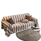 DULPLAY Stripe Polyester Sofabezug,Plüsch-schonbezug Sofaüberwurf,All-Inclusive Anti-Rutsch Sofaüberwurf,Für Haustiere & Kinder-A 180x200cm(71x79inch)