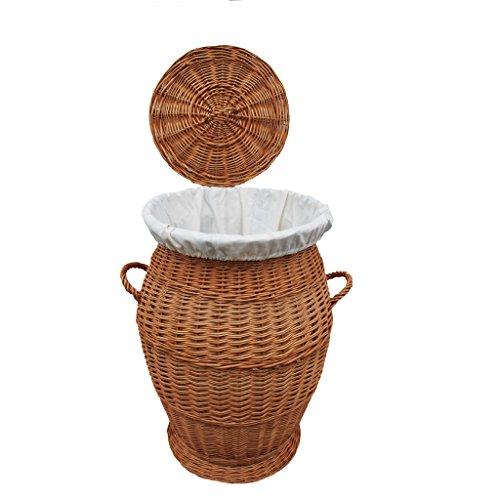 32-70 GalaDis runder Wäschekorb/Wäschesammler aus Weide geflochten (70 cm) mit herausnehmbarem Einsatz/Innensack und Deckel für die ganze Familie