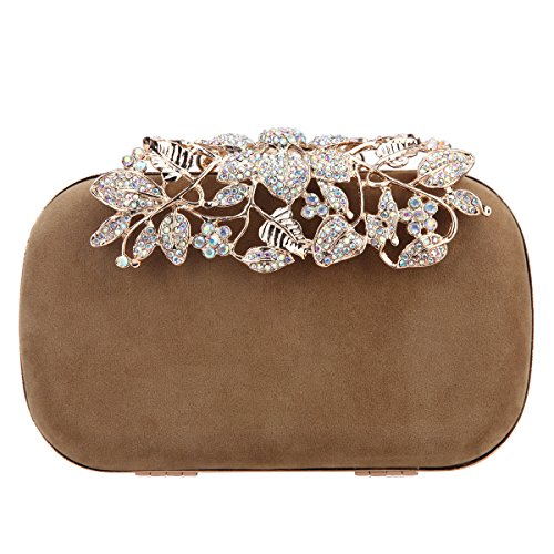 Bonjanvye Flower Velvet crystal clutches purses for women bags-Apricot - Clutch Bag Apricot