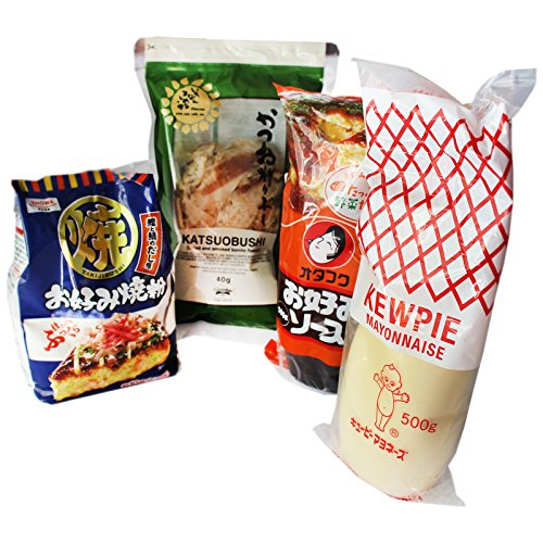 Okonomiyaki Set (bestehend aus Okonomiyaki Sauce 500g, Japanische Mayo 450g, Bonitoflocken, Showa Mehl 400g)