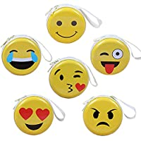 Emoji Mini Coin Purse for Kids , Coin Tray Wallet Key Holder Clutch Bags,Headphones, Data Cable Storage Package,Gift for Boy and Girls(6 Pack)