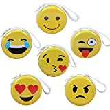 Emoji Mini porte-monnaie pour les enfants, porte-monnaie porte-monnaie porte-clés sacs d'embrayage, écouteurs, paquet de stockage de câble de données, cadeau pour garçon et filles (paquet de 6)