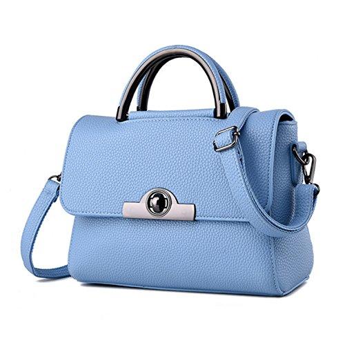 HeHe Damen PU Leder Handtaschen Damen Henkeltaschen Elegante Umhängetasche für Damen weibliche Schultertasche - Hellblau (Coach Handtasche Womens)