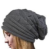 Cappelli,BYSTE Donne Inverno Crochet Cappello Lana Lavorata A Maglia Beanie Caldo Caps Berrette Cappellino Folds flangiatura Berretta (Grigio)