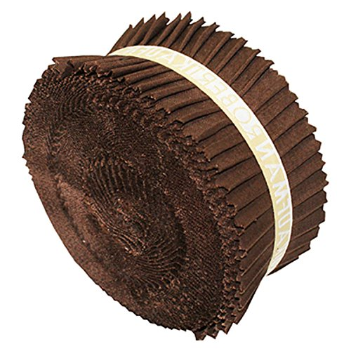 "Kona Cotton SOLIDS COFFEE Roll-Up 2.5"" Fabric Quilting Strips Jelly Roll Robert Kaufman RU-197-40"