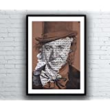Willy Wonka / Gene Wilder Portrait Drawing with Pure Imagination Lyrics - Signed Limited Edition Giclee Art Print Kunstdruck A5 A4 A3 Sizes