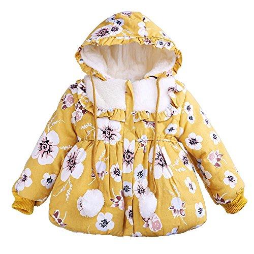 Domybest Kinder Mädchen Winter Cute Floral Kapuzen Kordelzug Haar Ball Mantel (Gelb / 90) -