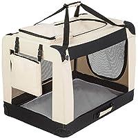TecTake Cage sac box caisse de transport pour chien chat mobile XXL pliable beige 90x59x64cm