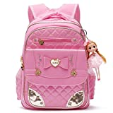 Ali Victory Rucksack Serie Barbie Doll Entzückende Prinzessin Schulrucksack für Grundschule Mädchen (Pink -Small)