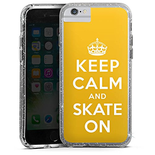 Apple iPhone 7 Bumper Hülle Bumper Case Glitzer Hülle Keep Calm Skateboard Skaten Bumper Case Glitzer silber