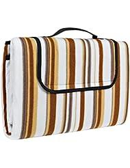 TecTake Colchón manta de picnic viaje camping 200x150cm fondo hidrófugo enrollable beige marrón