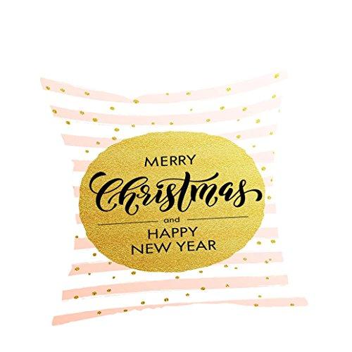 AMUSTER Merry Christmas Happy New Year Weihnachten Sofa Bett Home Decor Kissen Fall Kissenhülle Bettwäsche Square Flachs Fall dekorative Kissen (B) (Kissen Dekoratives Braun)