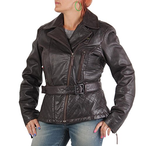 BLAUER USA Damen Winter Lederjacke Dark Brown 0693 Größe L