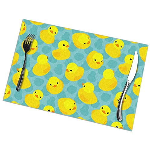 Aeykis Yellow Rubber Ducks Tischsets Set of 6 for Dining Table Washable Polyester Placemat Non-Slip Heat Resistant Kitchen Table Mats Easy to Clean 1218inch