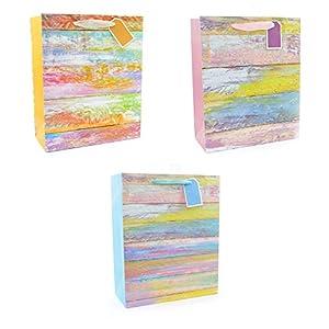 Gifts 4 All Occasions Limited SHATCHI-521 - Juego de 3 bolsas de papel con purpurina (tamaño mediano, para cumpleaños, bodas, regalos de Navidad), multicolor