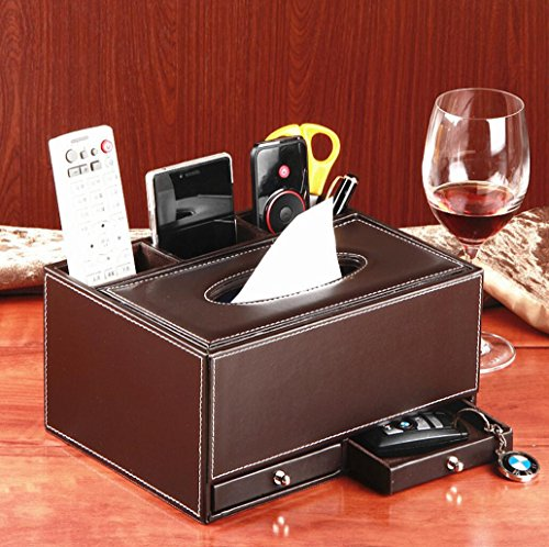 Multi-funzionale Pu Leather Desk Organizer Portakleenex ordinata Business Card cellulare telecomando deposito scatola portapenne con cassetti , brown tabby
