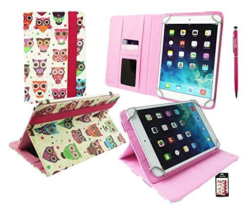 Emartbuy® CSL Panther Tab 7 Zoll Windows Tablet Universalbereich Mehrfarbig Owls Multi Winkel Folio Executive Case Cover Wallet Hülle Schutzhülle mit Kartensteckplätzes + Hot Rosa 2 in 1 Eingabestift