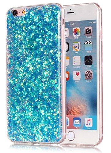 EUWLY Custodia per iPhone 7/iPhone 8 (4.7), iPhone 7/iPhone 8 (4.7) TPU Silicone Cover, EUWLY Moda Elegante Bling Bling Custodia per iPhone 7/iPhone 8 (4.7) Protectiva Bumper Ultra Sottile Gomma Ge Glitter Blu