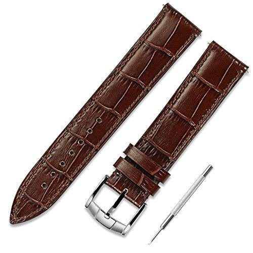 CHIMAERA Reemplazo de piel de becerro genuino 18mm 19mm 20mm 21mm 22mm Pulsera de correa de reloj de piel de vaca Procesos de pulido precisos Acero inoxidable Clásico Pin Buckle Watch Strap