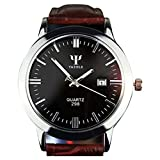 Herrenuhren Lederband-Kalender-Datums-analoge Quarz-wasserdichte Armbanduhr uhren herren Uhr PU Leder Runder Fall Business Casual Luxus Einfach Uhren Mode Armbanduhr Elegant Geschäfts Watch (Braun)