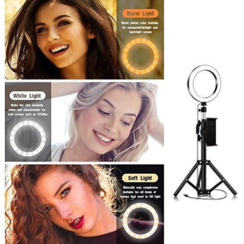 UHAPEER Ringlicht 10-Zoll Ring Licht Set, Tri-Color 3300-6000k, Mit Tripod Handyhalter, f�