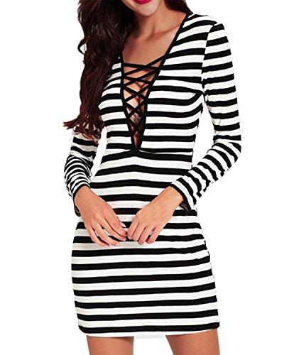ZANZEA Femme Sexy Bandage Slim Tunique Rayés Clubwear Partie Mini Robe Cocktail Stripe