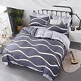 AnySell 3/4-teiliges Bettwäsche-Set mit Einfachem Druck, Bettdeckenbezug, Bettlaken und Kopfkissen, a, 2.0m