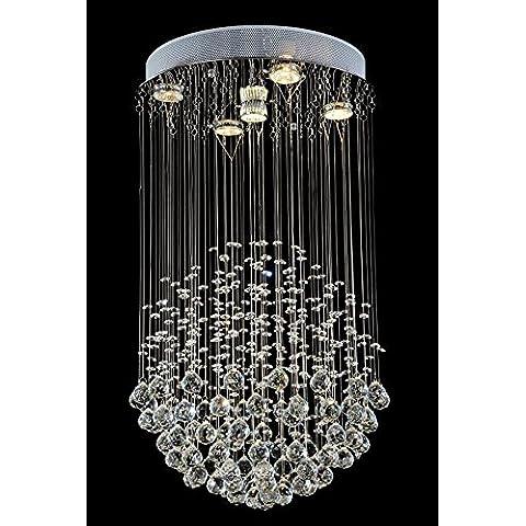 Fx@ Candelabros de cristal sencillo y moderno pueden contener LED bombillas LED GU10 lámpara lámpara living comedor Hall de las luces del restaurante redondo colgante cristal luces lámparas escalera iluminación , L40CM*W40CM*H70CM