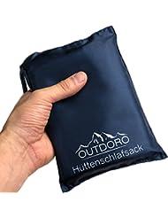 Outdoro Hüttenschlafsack, ultra-leichter Reise-Schlafsack - nur 200 g aus Mikrofaser mit Kissen-Fach - dünn, klein, kompakt - Inlett, Inlay, Outdoor Travel-Sheet für Erwachsene, Kinder, Sommer