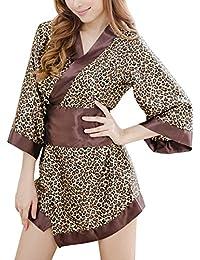 Valin Mode Floral Kimono Lingerie, vêtements de nuit, une noire