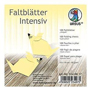 Ursus 3146817 - Hojas Plegables (100 Unidades, 65 g/m², 10 x 10 cm, para Artistas de Origami Grandes y pequeños, teñidas), Color Amarillo Claro