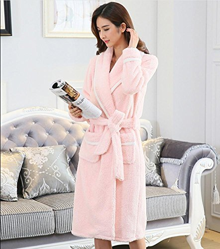 DMMSS Les femmes de nuit Coral Velvet Pyjamas Lovers Nightgown ¨¦paissir flanelle Peignoirs Pyjamas pink lady