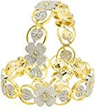 DS American Diamond Gold Plated Flower Design Party wear kangan Kada Bracelet Bangles Pair for Girls women(DS104)