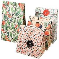 12 bolsas de papel Kraft Bolso del regalo de la galleta con el patrón de flores etiqueta de estilo coreano de embalaje para aniversario de boda 13 x 8 x 23 cm (4 diseños, 3 bolsas por diseño)