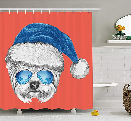 KRISTI MCCARTNEY Yorkie Shower Curtain by, Terrier with a Blue Santa Hat and Mirror Aviator Glasses Fun Hand Drawn Animal, Fabric Bathroom Decor Set with Hooks, 70 Inches, Coral White Blue