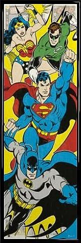 DC Comics Tür-Poster und Kunststoff-Rahmen - Batman, Supergirl, Superman, Green Lantern (158 x 53cm)