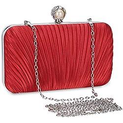 Cartera de Mano Bolso de Noche Estilo vintage Elegante para Mujer Boda Partido Fiesta Bolso de Noche Boda Vintage Retro para Seda (rojo)