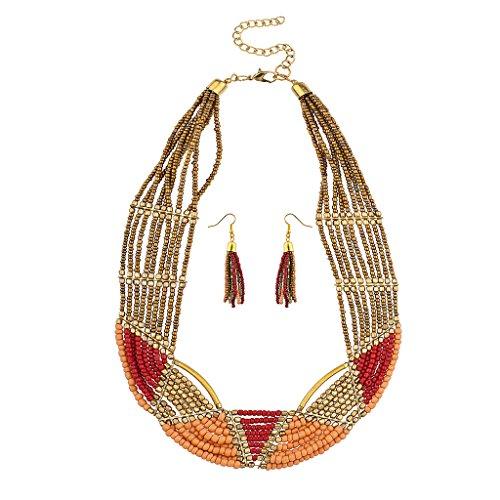 lux-accessori-colore-rosso-oro-perline-dichiarazione-collana-orecchini-abbinati