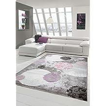 Alfombra diseñador Alfombra moderna alfombra de lana salón alfombra de lana alfombra con patrón de círculo gris rosado crema púrpura Größe 160x230 cm