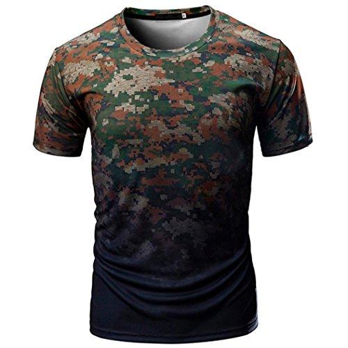Longra Camiseta Hombre, Camiseta de Camuflaje Hombre Militares Camisetas Deporte Ropa Deportiva Camisa de Manga Corta de Camuflaje Slim fit Casual para Hombres Tops Blusa (Ejercito Verde(2), M)