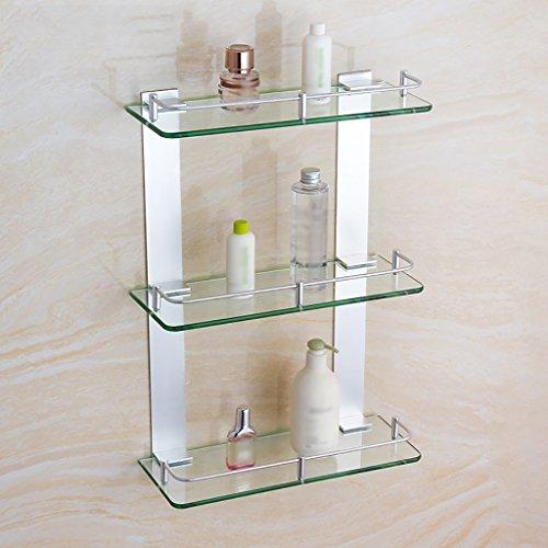 400 Glass Storage (Zfggd Regalfläche Aluminium Triple Glass Badezimmer Regal Square Storage Rack (größe : 400mm))