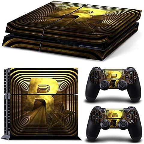 [PS4] Toda la piel del cuerpo de la etiqueta engomada cubierta para la consola del sistema PS4 Playstation 4 y Controllers - Oro / Negro