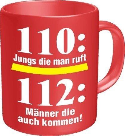 Fun Tee Tasse - 110: Jungs die man ruft 112: Männer die kommen - Feuerwehr - einzeln im Geschenk Karton - zum Geburtstag