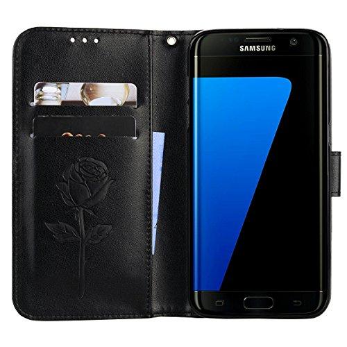 Coque Samsung S7 Edge Anfire Fleur Motif Peint Mode Coque PU Cuir pour Galaxy S7 Edge Etui Case Protection Portefeuille Rabat Étui Coque Housse pour Samsung Galaxy S7 Edge SM-G935F (5.5 pouces) Luxe S Noir