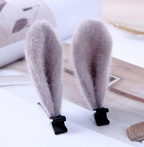 Kinder-Haarspange mit Hasenohren, einfacher Stil 6cm grau